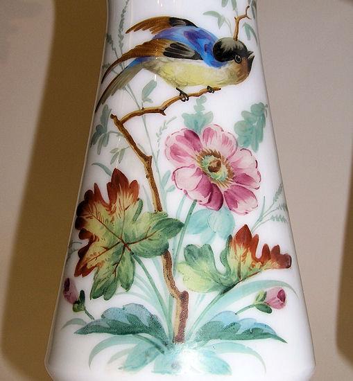 Pair Gilded Enamelled Opaline Glass Vases