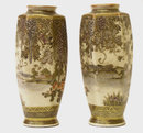 Pair of Small Japanese Satsuma Vases