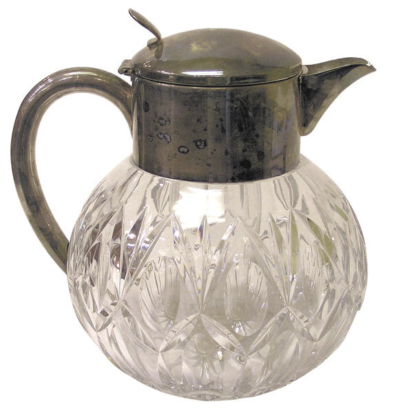 Silver & Cut Glass Wine or Water Carafe