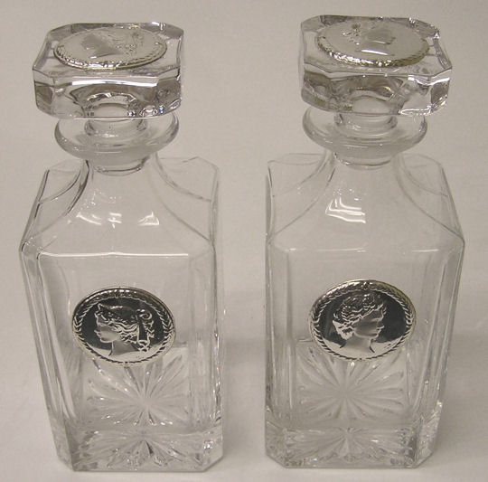 Pair of Neoclassical Italian Sterling Silver & Glass Decanters