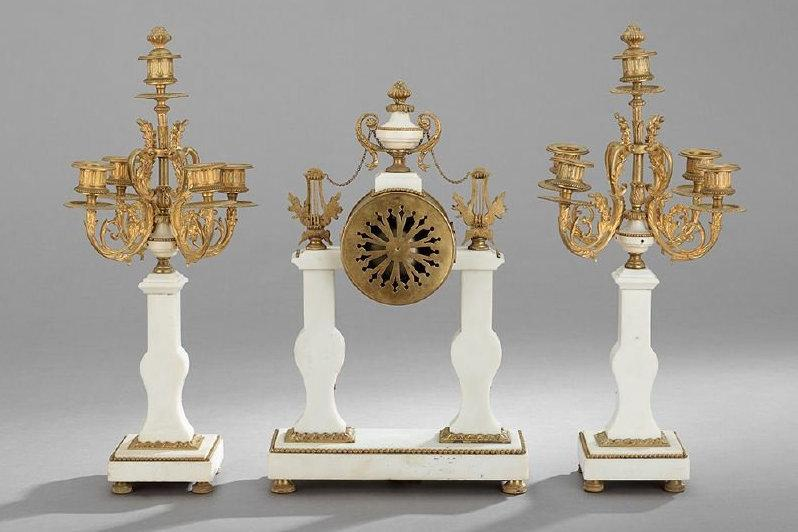 Antique Louis XVI Style Marble Bronze Clock Garniture