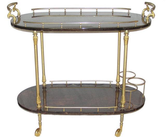 Vintage Aldo Tura Goatskin Brass Bar Cart