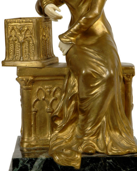 Gothic Female Bronze & Ivory Sculpture by Raphanel