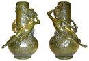 Pair LOUIS MOREAU Figural Bronze Vases