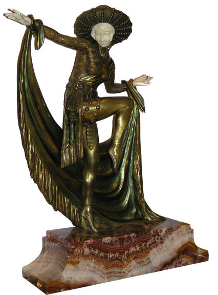 Mirval Art Deco Bronze Dancer Sculpture