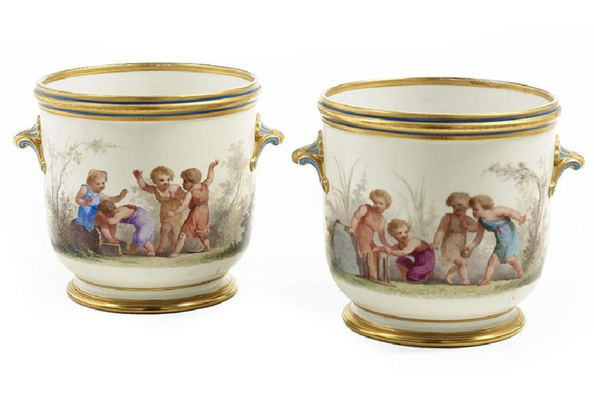 Pair Antique Paris Porcelain Hand Painted Cachepots