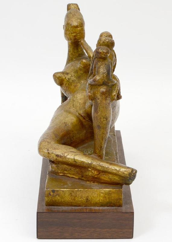 Bronze Figurine of Recumbent Mother & Children Cast by Valsuani 1961