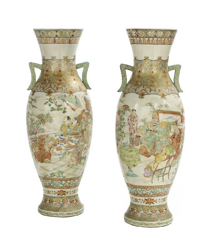 Pair of Impressive Japanese Satsuma Vases