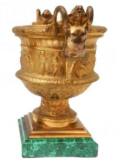 Pair Antique Neoclassical Gilt Bronze Malachite Stone Mounted Vases from Barbedienne