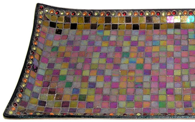 Vintage Jewelled Mosaic Glass Serving Tray