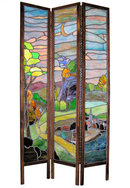 Antique Arts & Crafts Stained Glass Screen Room Divider