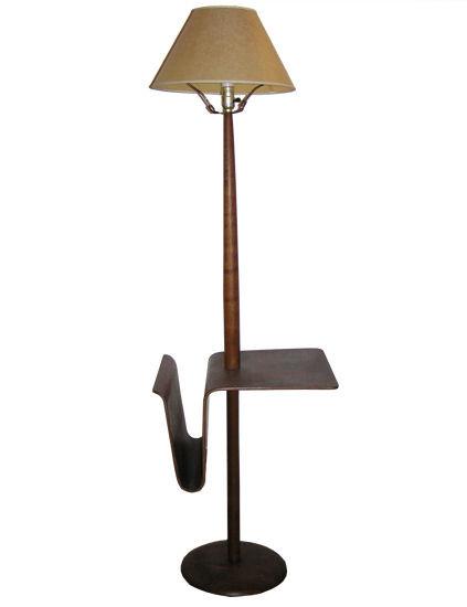 Wooden Floor Lamp w Magazine Rack