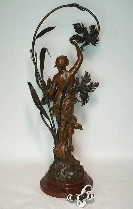 Antique Art Nouveau Patinated Bronze Table Lamp
