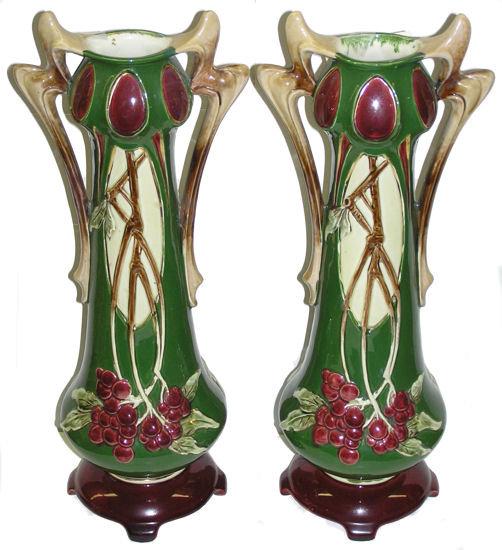 Pair Art Nouveau Faience Majolica Vases