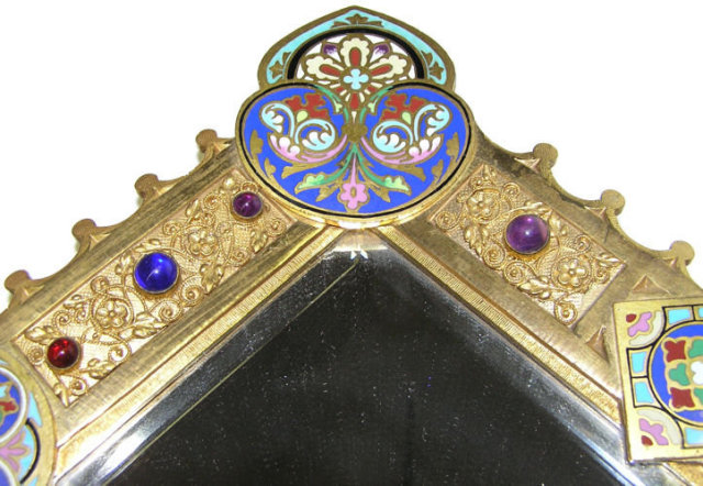 Russian Jewelled Champleve Bronze Mirror