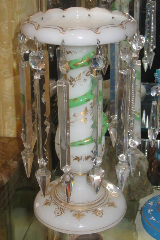 Pair Antique French Opaline Glass Luster Candleholders