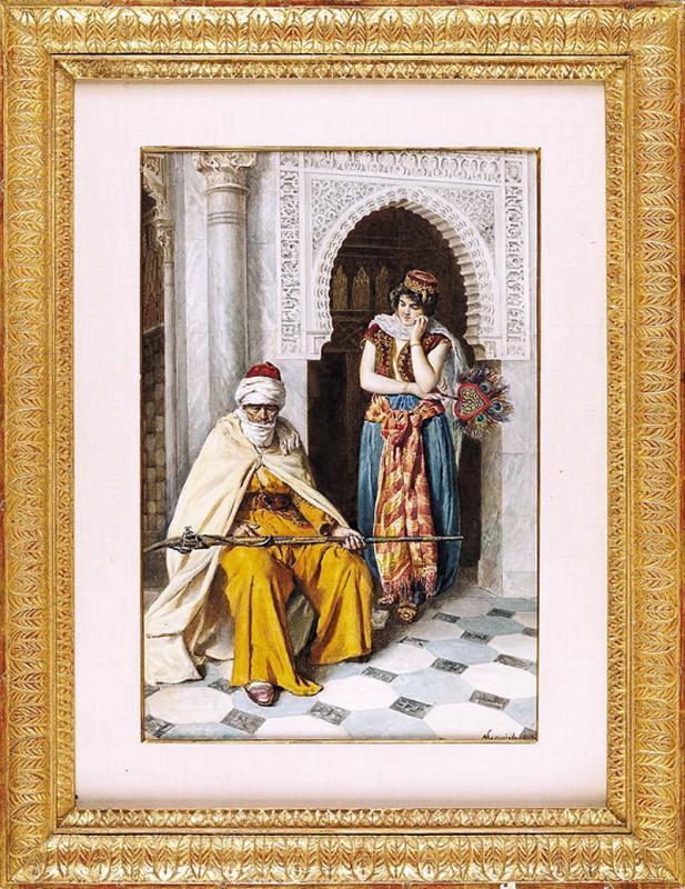 Italian Antonio Gargiullo Orientalist Watercolor Painting