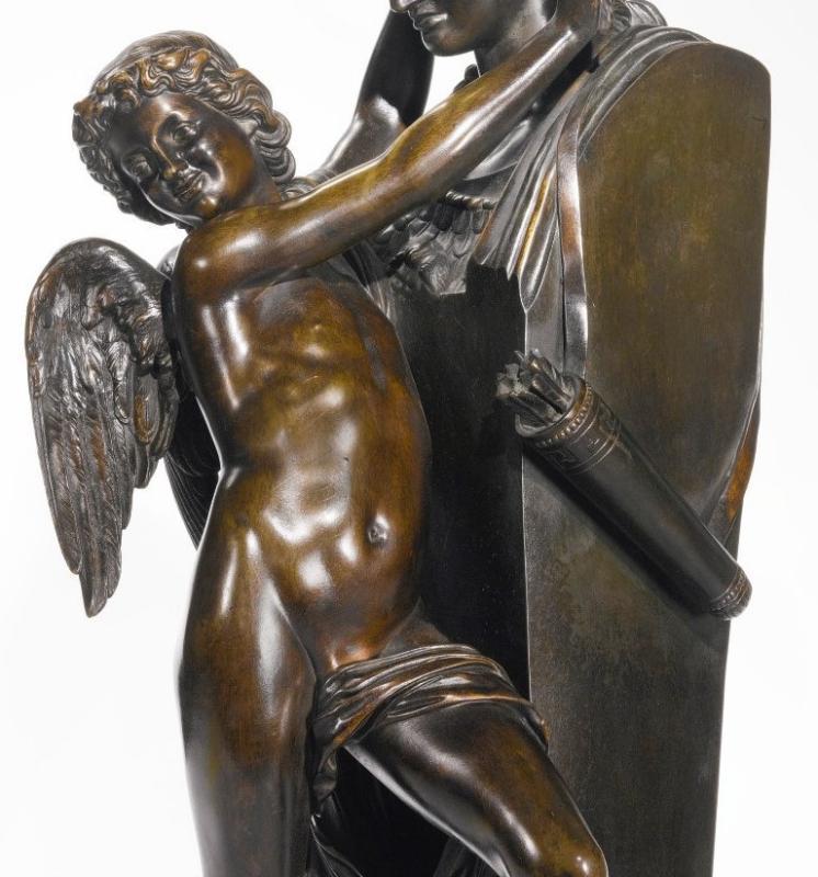Felix Sanzel (1829-1883) Bronze Sculpture of Eros and Herm of Athena