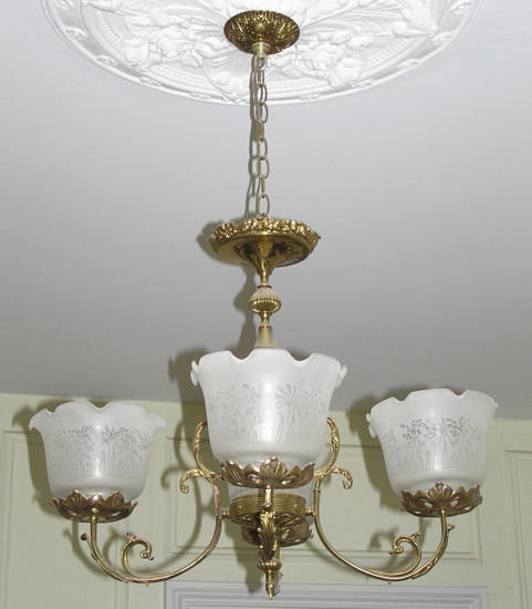 Antique 4-Light Brass & Bronze Chandelier