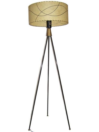 Mid-Century Tripod Metal Floor Lamp