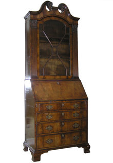 English Georgian Walnut Bureau Bookcase
