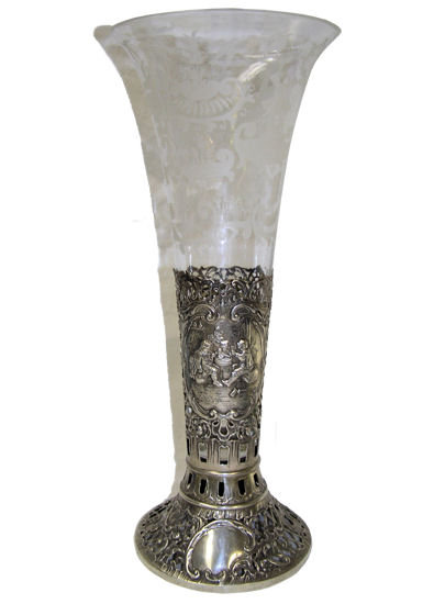 Dutch Glass Vase & Repousse Silver Holder