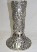 Dutch Glass Vase & Repousse Silver Holder