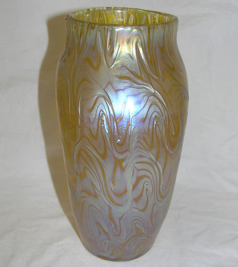 Iridescent Golden Glass Vase by Loetz