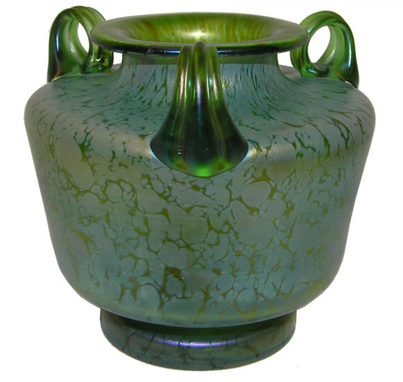 Loetz Iridescent Green Oil Spot Glass Vase