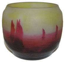 D'Argental Sailboat Seascape Glass Vase