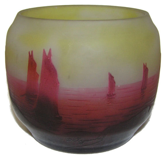 D'Argental Sailboat Seascape Glass Vase
