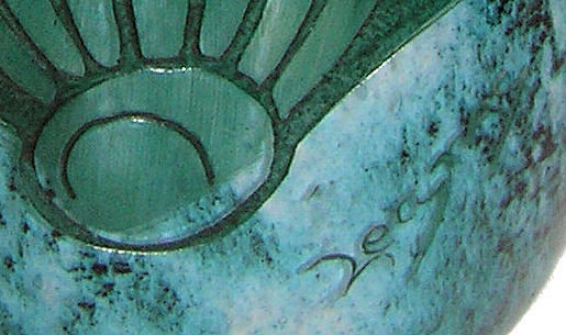 Art Deco Legras Green Etched Glass Vase