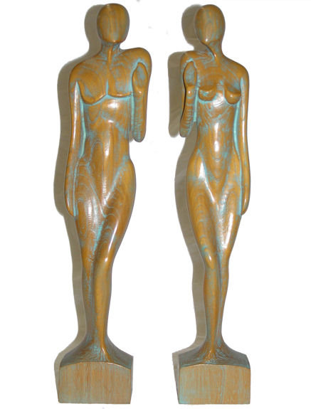 EDWARD STASACK Limed Wooden Figurines