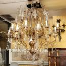 Vintage Venetian Italian Gilt Metal and Giltwood 16-Arm Chandelier