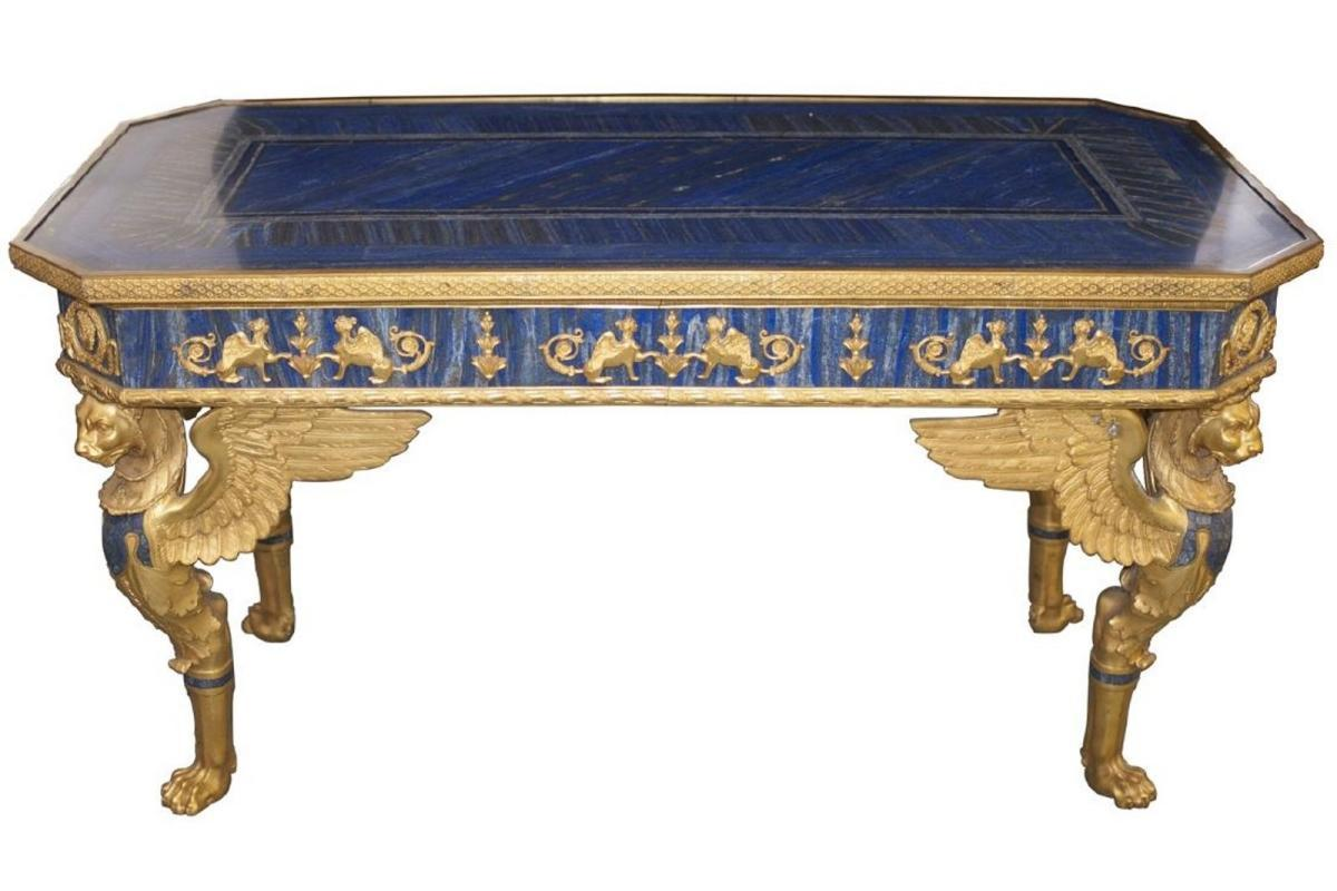 French Empire Style Gilt Bronze and Lapis Lazuli Inlaid Center Table