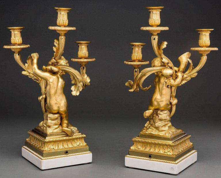 Pair Henry Dasson Gilt Bronze and Marble Figural Candelabra