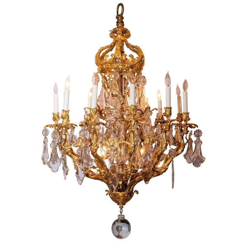Antique Louis XV Style Gilt Bronze 15-Light Chandelier