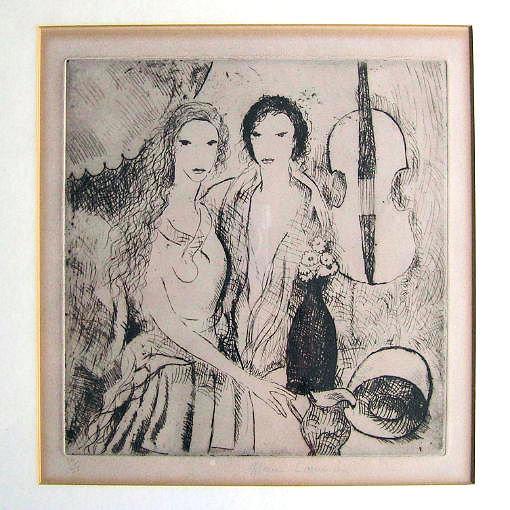 Marie Laurencin Etching Filles au Violoncelle