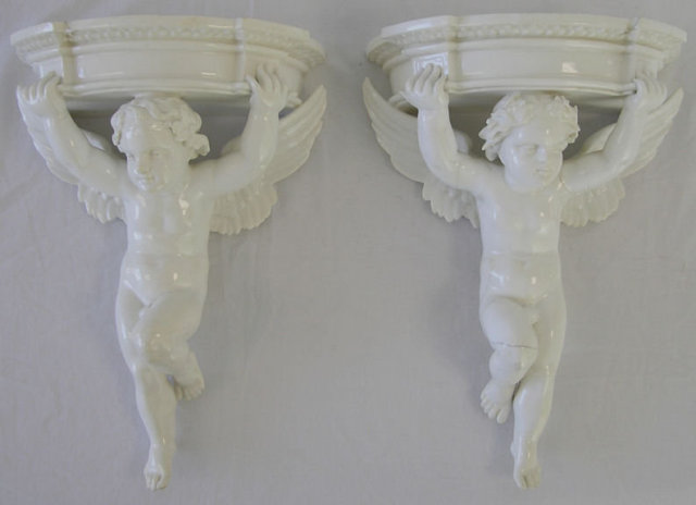Pair Porcelain Putti Cupid Wall Brackets