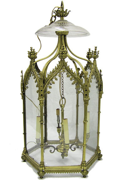 English Regency Georgian George III Gilt Bronze Gothic Ceiling Lantern