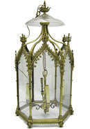 English Regency Georgian George III Style Gilt Bronze Gothic Ceiling Lantern