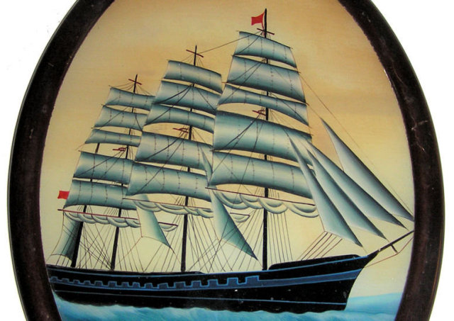 Folk Art Clipper Ship Painting on Glass