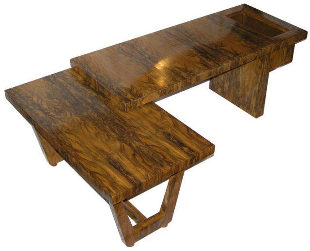 Mid-Century Figured Fruitwood Cocktail Table