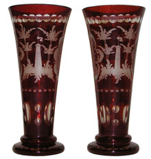 Pair Bohemian Ruby Flashed Etched Vases