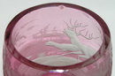 Bohemian Red Glass Goblet w Stag Motif