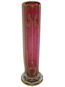 Bohemian Gilded Red Glass Flower Vase