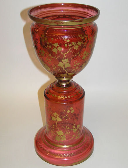 Venetian Red Glass Goblet with Portrait