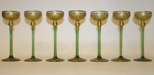 Moser Glass Cordial Decanter Glasses Set