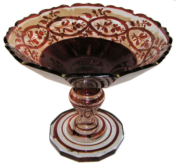 Bohemian Ruby Red Glass Compote