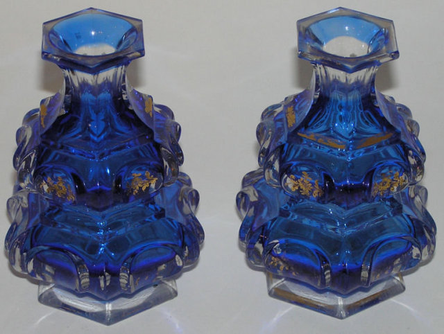 Pair Antique Gilded Flashed Blue Parcel Gilt Glass Perfume Fragrance Bottles